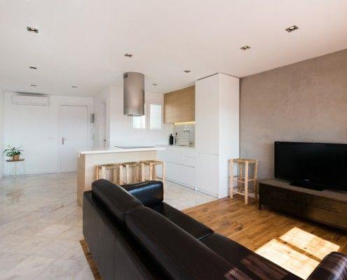 Sala de estar y Cocina - Interiorismo Atico Blanes